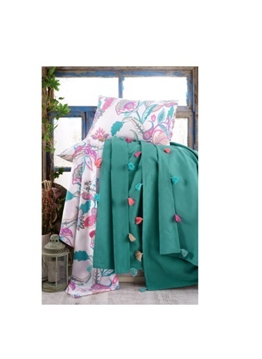 Minteks Düz Renk Çift Kişilik Pike Takımı Yeşil